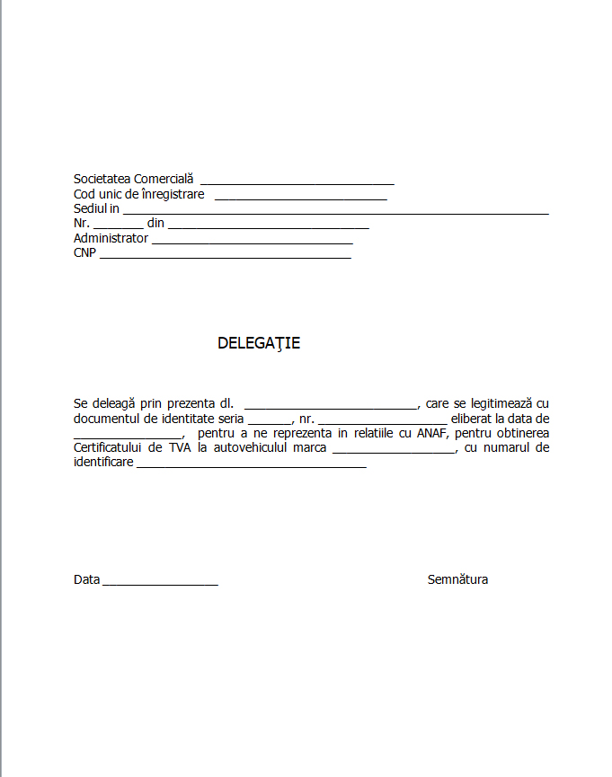 delegatie pentru obtinere certificat de tva anaf